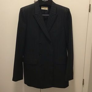 Saint Laurent double breasted pin strip blazer